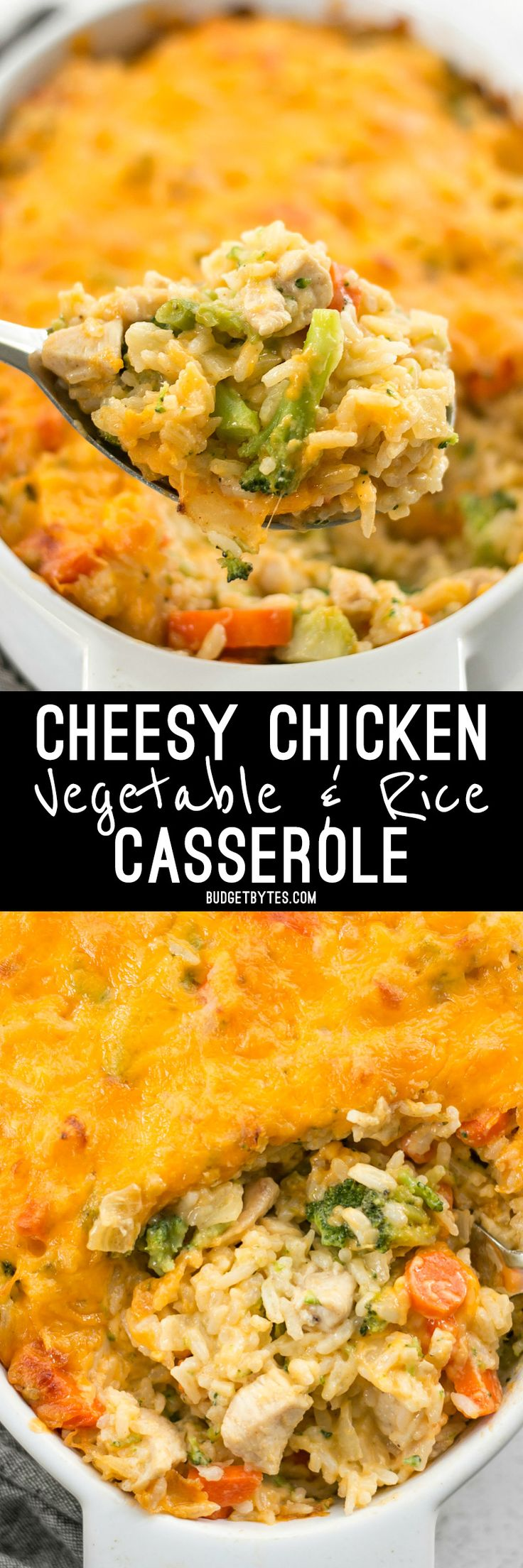 This Cheesy Chicken Vegetable and Rice Casserole is everything your comfort food dreams are made of. @budgetbytes