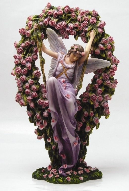 Sheila Wolk Art   Gatekeeper Statue Sheila Wolk Art Angel Pink Roses Wreath Figurine ...