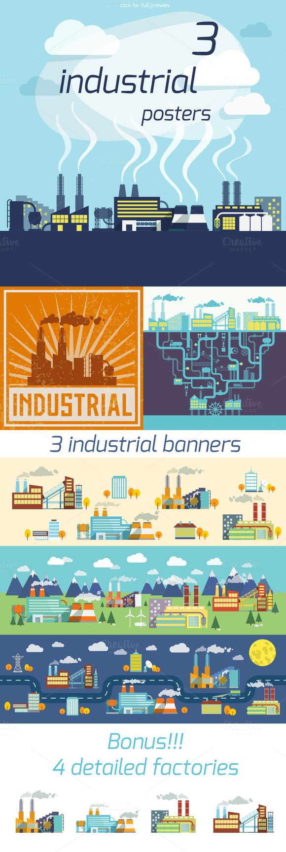 Check out 3 Industrial Factory vector posters by Macrovector on Creative Market