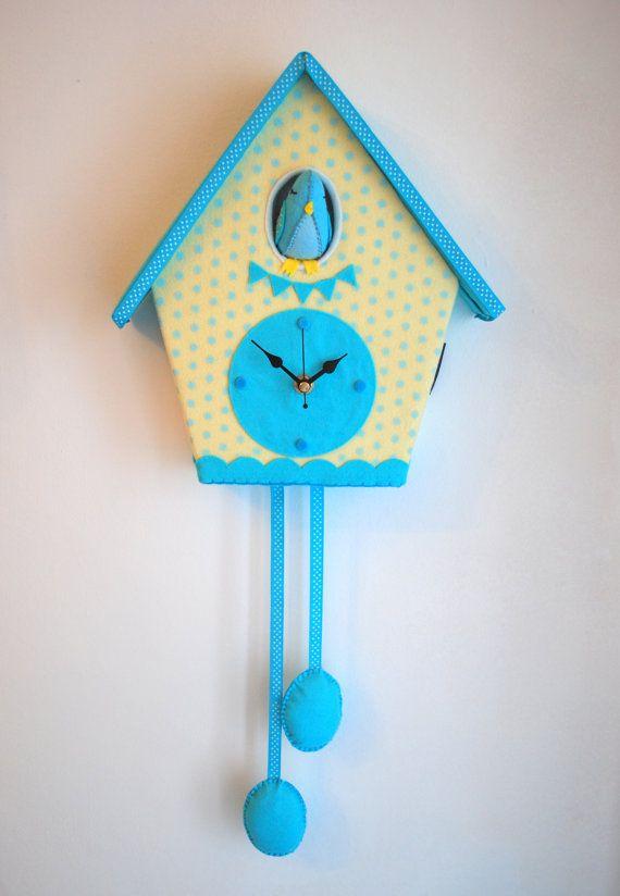 Felt cuckoo clock  Polka dot yellow and blue  Free by bettyoctopus, €80.00