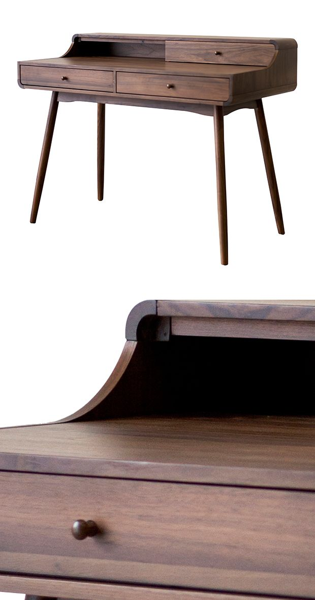 Mid-century goes rustic. Beautifully made from medium-finished solid walnut, the nostalgic, splayed-leg silhouette of this Credence Writing Desk is chicly reimagined for the modern era. Intelligently p...  Find the Credence Writing Desk, as seen in the A Modern Bohemian Abode Collection at http://dotandbo.com/collections/a-modern-bohemian-abode?utm_source=pinterest&utm_medium=organic&db_sku=128816