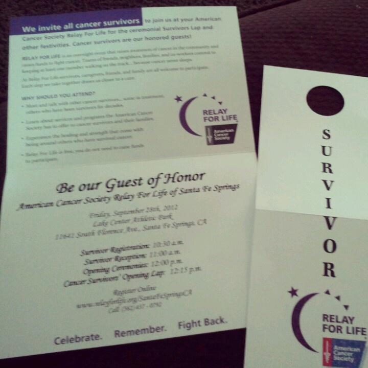 Survivor invitation (with parking pass?)