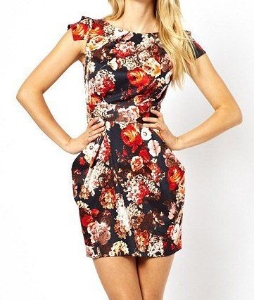 Trendy Round Collar Short Sleeve Floral Printing Zipper Back Dress With Belt For Women, AS THE PICTURE, M in Dresses 2014 | DressLily.com