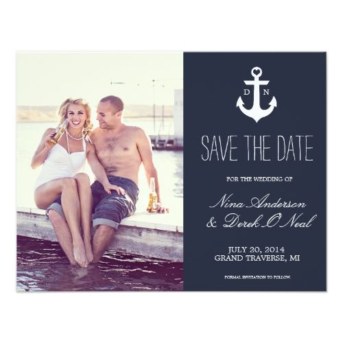 Monogram Wedding Invitations Nautical Save The Date | Wedding Card