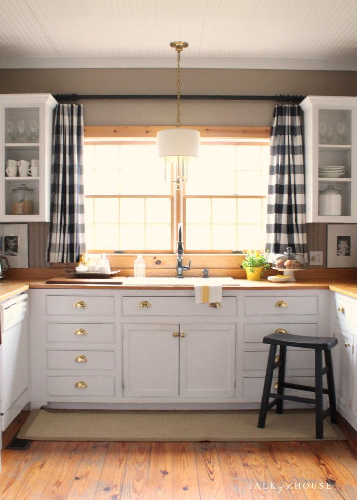 Kitchen Black Buffalo Check Drapes