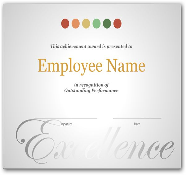 employee recognition certificate template excellence award wording free printable and