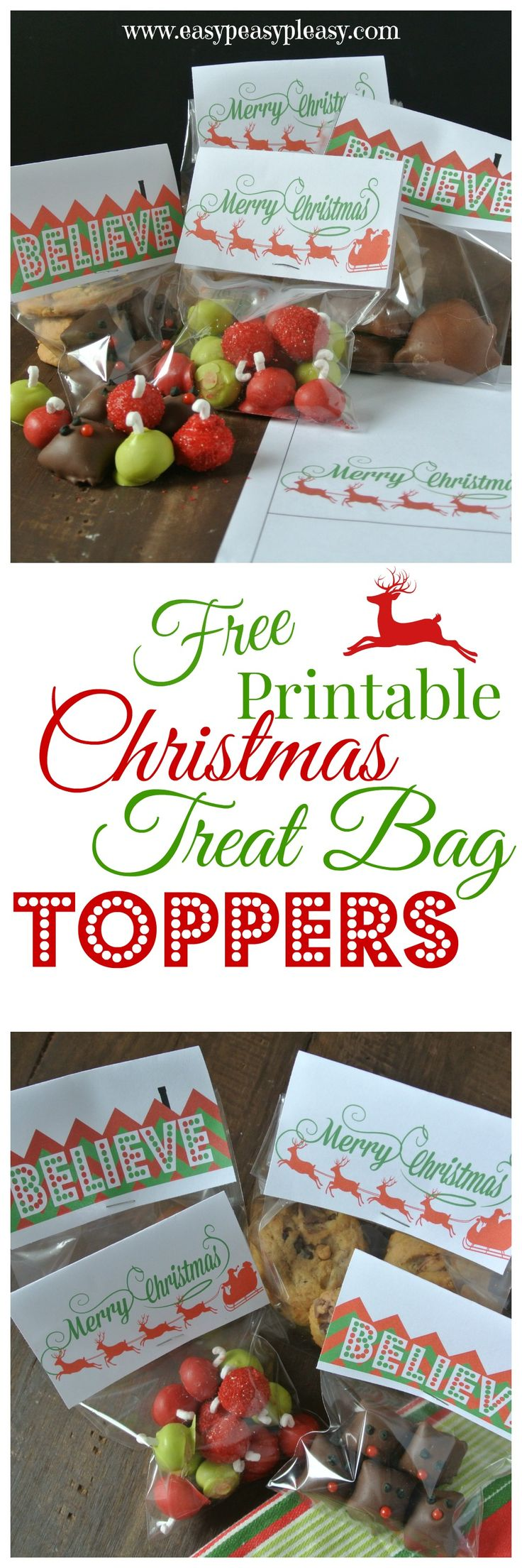 Free Printable Christmas Treat Bag Toppers are perfect for sharing Christmas Candy!