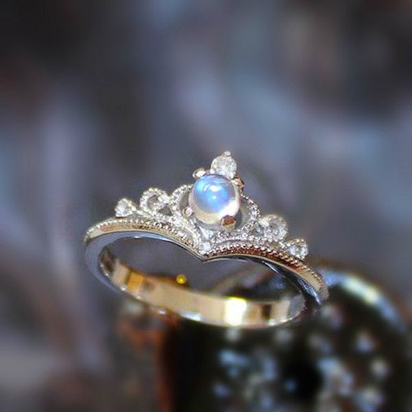 Antique Art Deco Moonstone Silver Tiny Crown Ring for Her [100604] - $88.99 : jewelsin.com