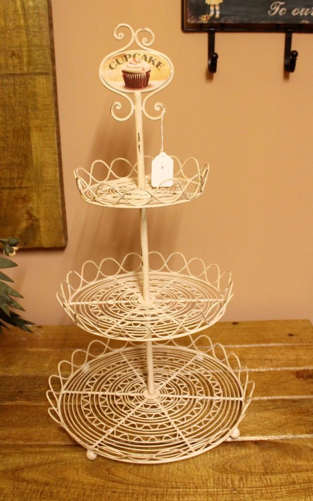 Vintage Style Cream Metal Cup Cake Stand 3 Tier Cake