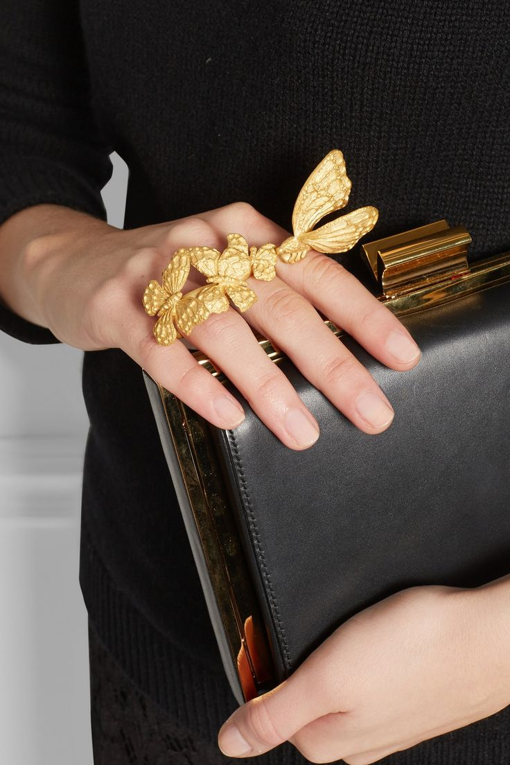 Valentino | Gold-plated three-finger butterfly ring | NET-A-PORTER
