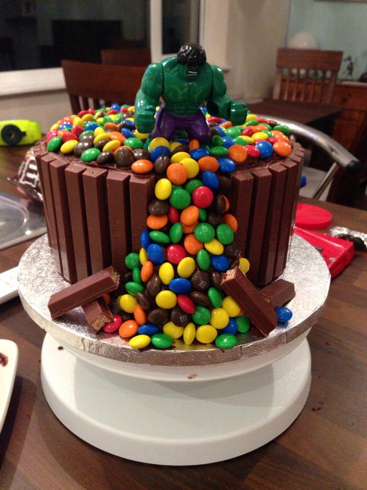 Hulk SMASH birthday cake that I made for my 5 year olds birthday! His dream cake!