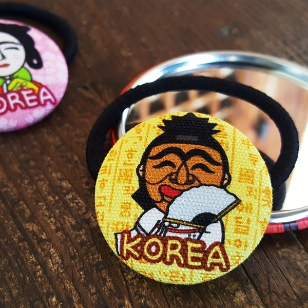 ::Korea Souvenir:: Hahoetal Button Hair tie (Yangban / Gakssi) 하회탈 단추 머리끈