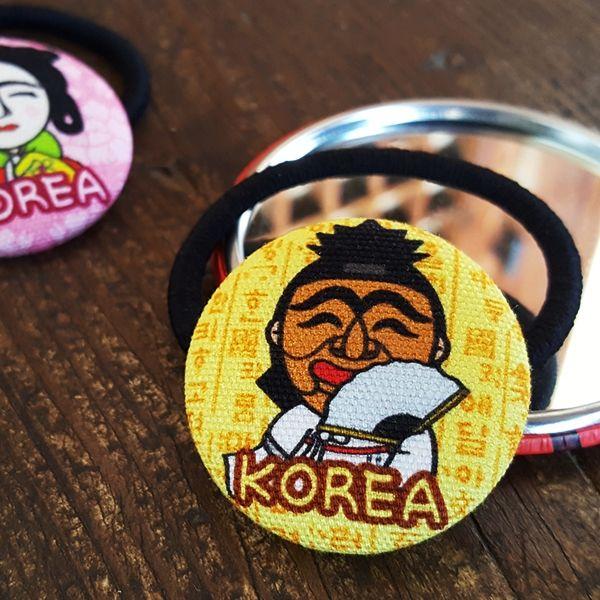 ::Korea Souvenir:: Hahoetal Button Hair tie (Yangban / Gakssi) 하회탈 단추 머리끈