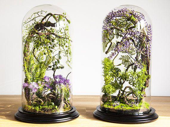 Terrario de bosque de plantas artificiales gabinete de la