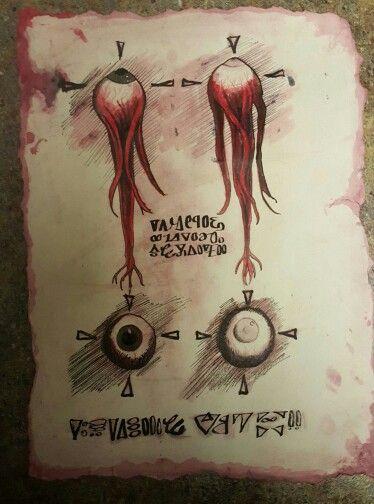 handmade replica page of the Evil Dead Necronomicon