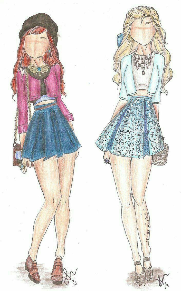 Modern Elsa and Anna illustrated outfits