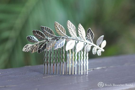 Large Silver Leaf Hair Comb,Silver Hair Comb,Leaf…Edit description