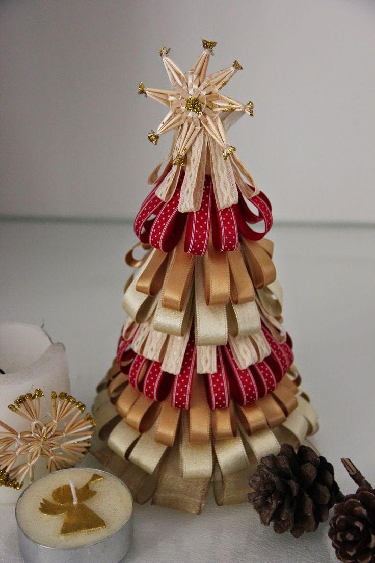 Diy arbol de navidad con cintas colcha pinterest for Cintas de navidad