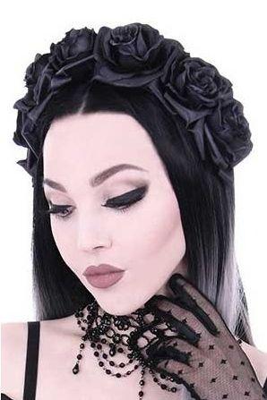 Restyle Black Roses Gothic Headband, Black Rose Headdress