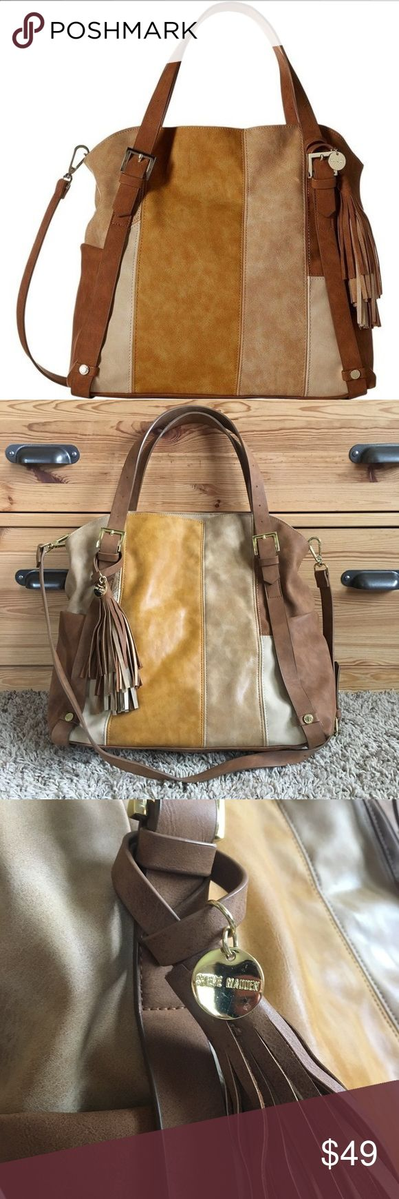 """Gently Used Steve Madden handbag Gently used for a month. 13""""h x 16""""w x 7""""d. Mustard yellow, tan & cream patchwork faux leather-perfect for fall! Has a removable, adjustable crossbody strap (35""""). Large interior with 2 slip pockets & 1 zipper pocket. 2 small pockets on sides of exterior. A small bit of blue coloring from a pair of new jeans is on the sides - shown in 6th pic. It's hardly noticeable and may come out with a little effort. I only wiped it with a baby wipe. Smoke&Pet free home…"""