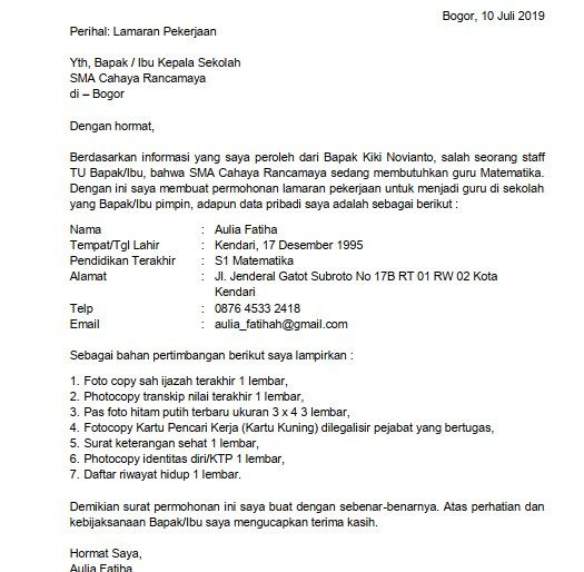 Contoh Surat Lamaran Buat Guru Sd Download Kumpulan Gambar