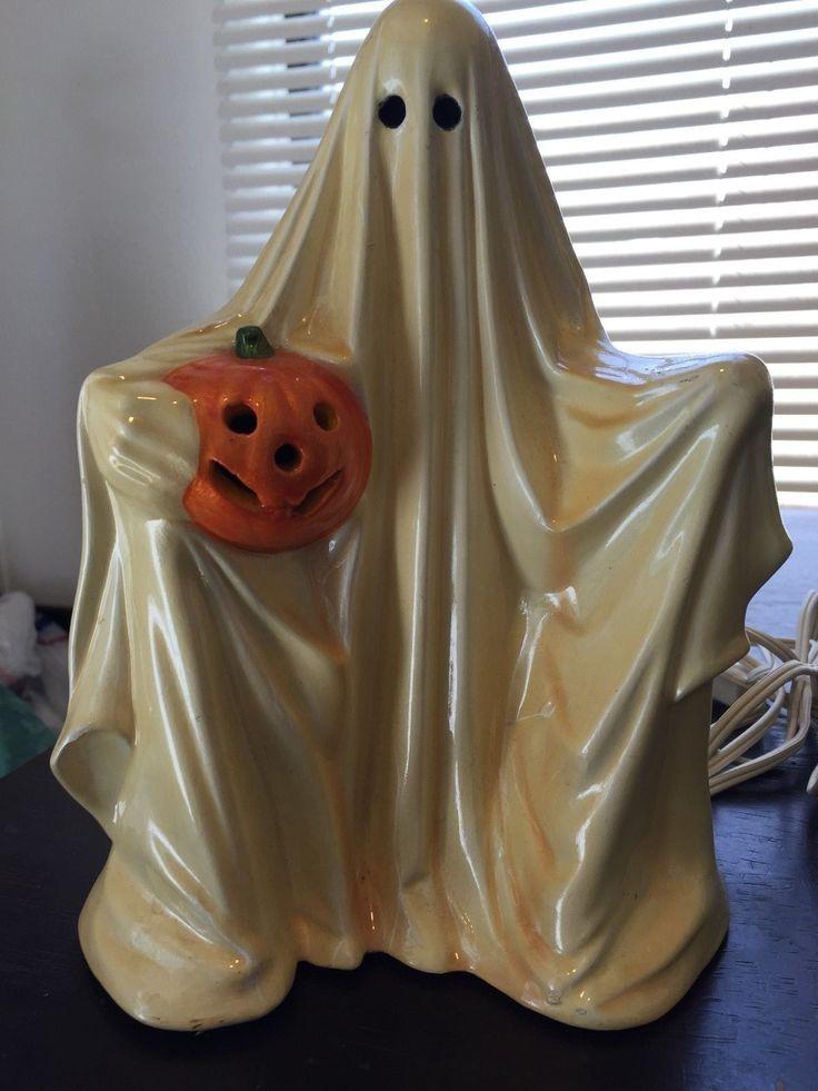 Vintage Halloween Ghost Lamp Ceramic Works Jack O Lantern