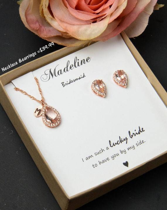 Personalized Bridesmaid Gift Morganite Earring Light Pink