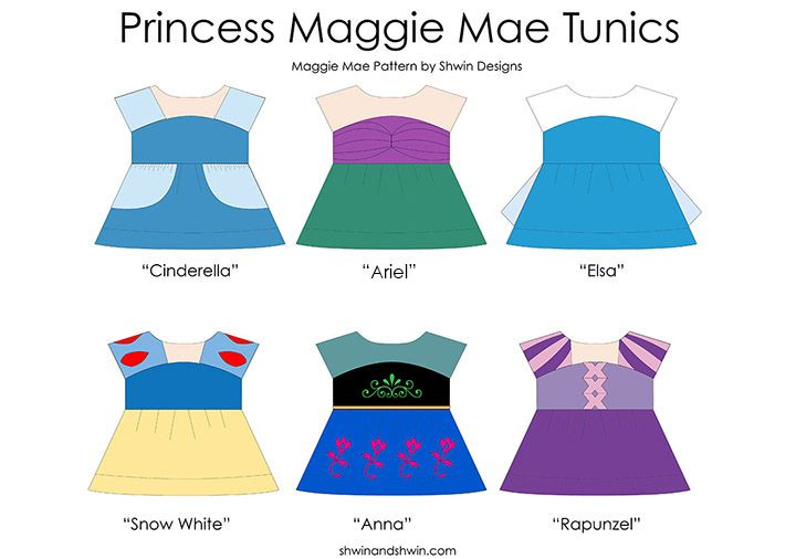 Everyday Princess Outfits from the Maggie Mae Sewing pattern. Neat idea for a little girl's birthday gift.