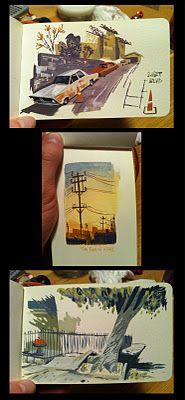incredible sketchbook paintings by Matthew CruikshankYe Crooks, Sketchbooks Painting, Environment Design, Illustration, Art, Crooks Legg, Sketches, Matte Cruickshank, Matthew Cruickshank
