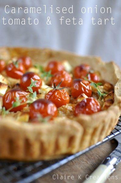 Tomato, onion and feta tart