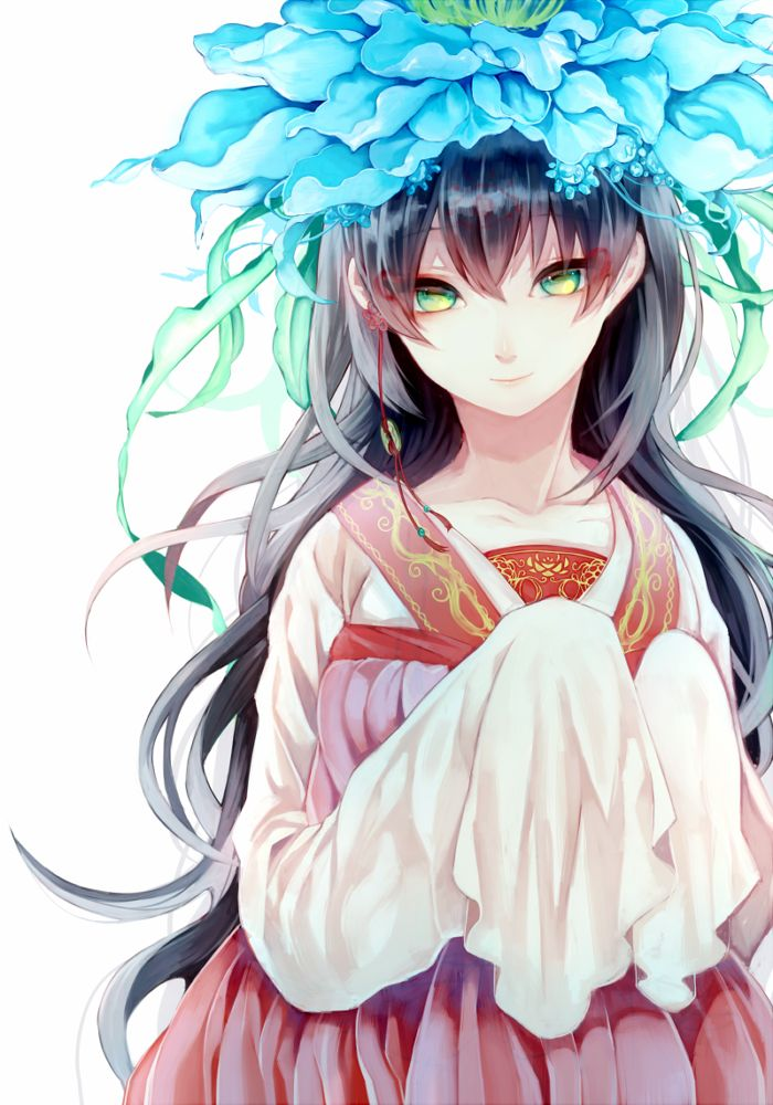 Anime girl with long black hair, green/yellow eyes, red