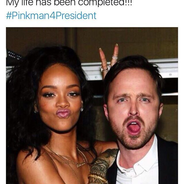 In honor of the debate tonight I would love to throw out my #WCW to the one and only @badgalriri. She once stated she thought that Pinkman should be president (love that idea) and I just wanted to remind everyone of that fact just in case you didn't see it the first time around. Love you all. #badgalriri #Pinkman #2016 #imwithher