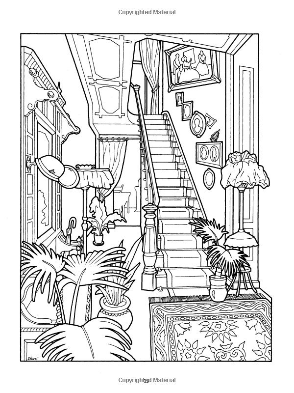 printable dover coloring pages | The Victorian House Coloring Book ...