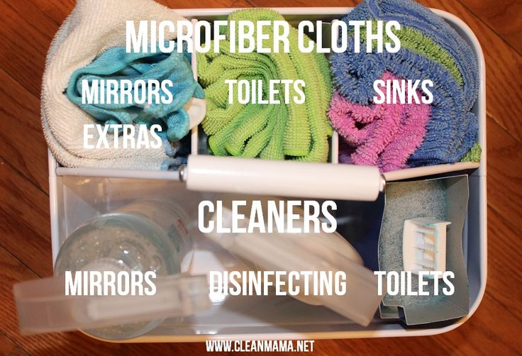 Supplies for Speed Cleaning Your Bathrooms in 15 Minutes via Clean Mama