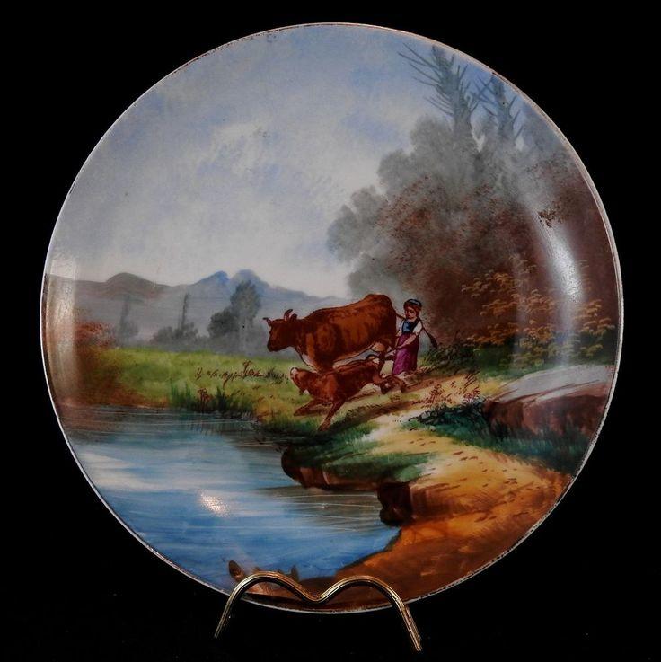 Ancienne assiette en porcelaine peinte décor de vache | Céramiques, verres, Céramiques françaises, Limoges | eBay!