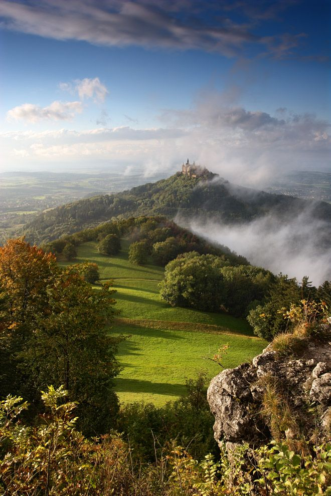 Hohenzollern Castle in the fog. Swabian Alb, Germany