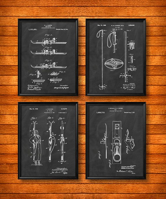 SET of 4 SKI Posters Art Print or Canvas Wall Art by UltraPrint