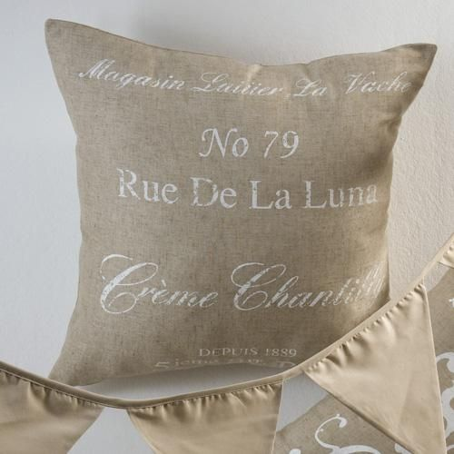 French script printed on textured fabric