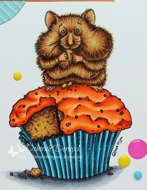 Copic Marker Europe: Cupcake? What cupcake? Copic colours used: Hamster: E59, E37, E35, E33, E31 legs: E02 orange topper: E08, YR07, YR04, YR02, YR00 cake: E29, E25, E23, E31, E21 paper: N7, BG09, BG05, BG01, BG000 ground: C05, C03, C01 sprinkles: RV17