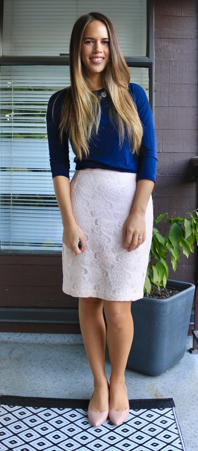 Simple and gorgeous business casual look: blue top, lace light pink pencil skirt, and blush flats.