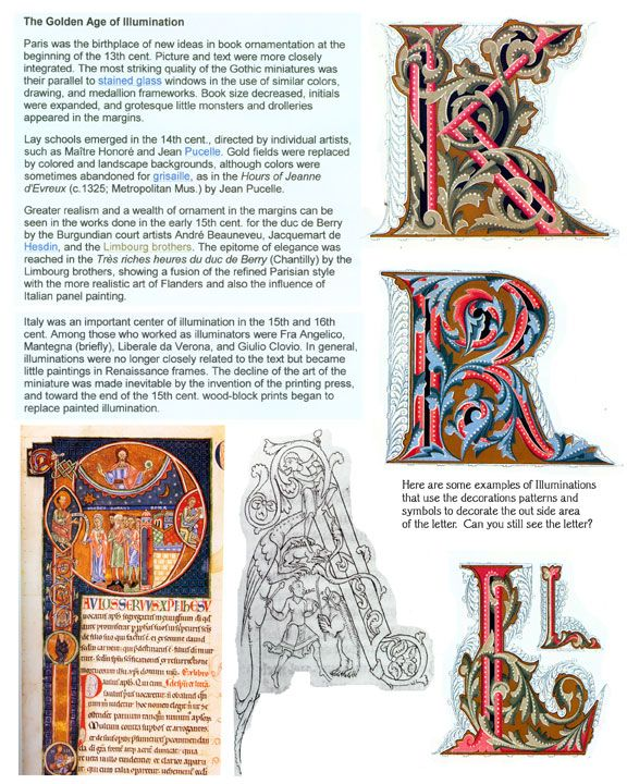 This is a FREE handout on Illuminated letters from the Incredible Art website…
