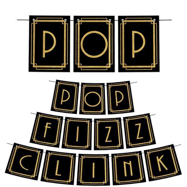 Roaring 20s Pop Fizz Clink Pennant Banner
