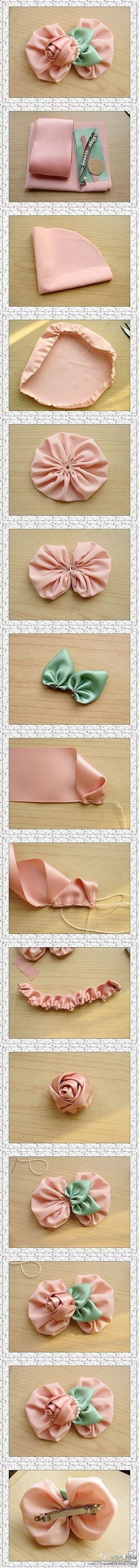 Pink roses hairpin DIY.