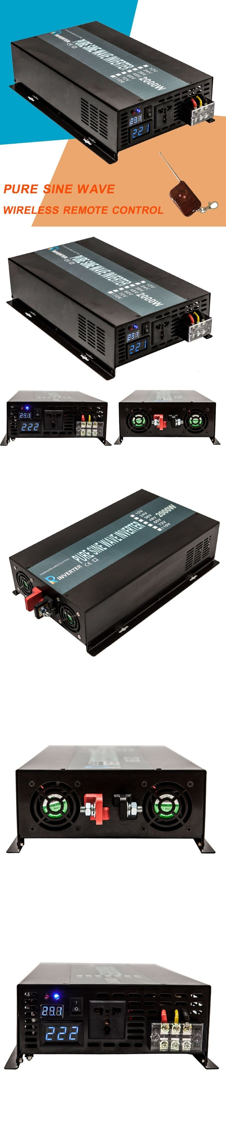 LED Display 2000W 12V 220V DC AC Converter High Frequency Converter Pure Sine Wave Solar Power Inverter For Refrigerator, TV