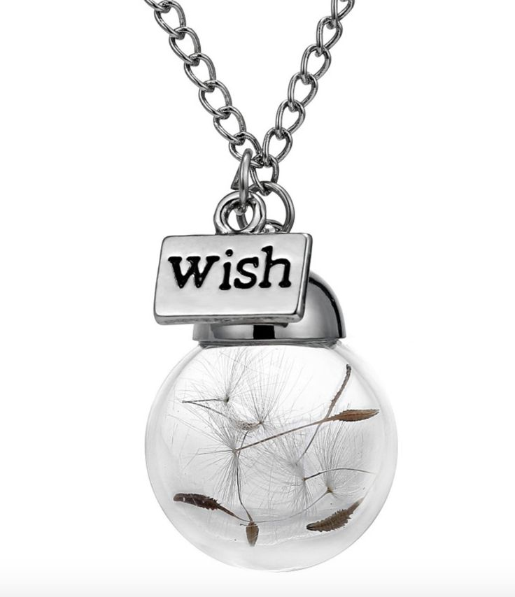 Women's Real Dandelion Seed Pendant Necklace