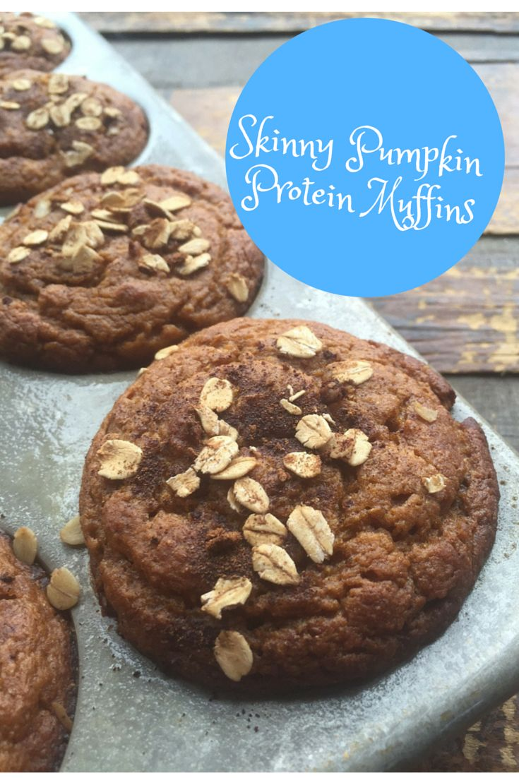I love muffins! Check out these skinny pumpkin protein muffins as a healthy breakfast or on-the-go snack.