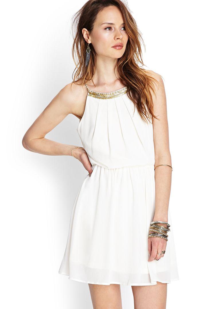 Beaded Open-Back Chiffon Dress   FOREVER21 #SummerForever