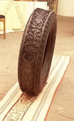 carved tire as a printing plate.