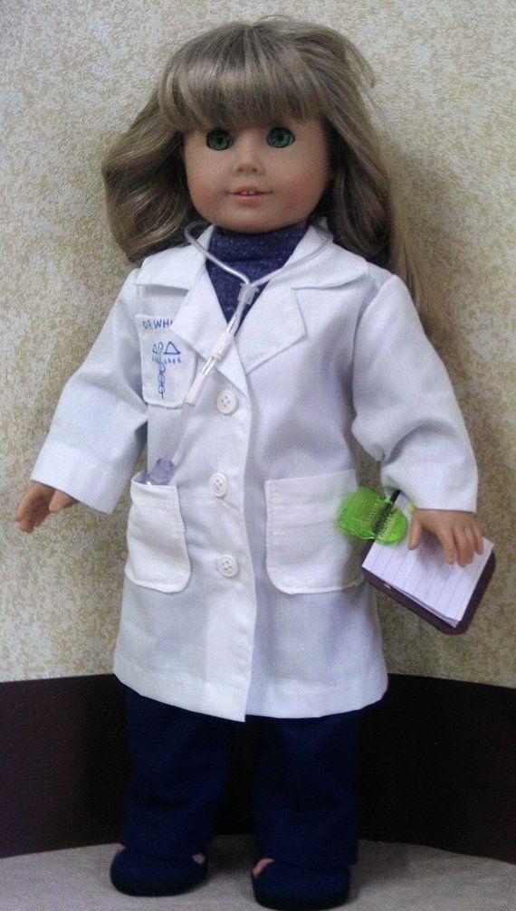 American Girl Doctor's Smock Knit Shirt Navy by GrannySallyAnns, $18.00
