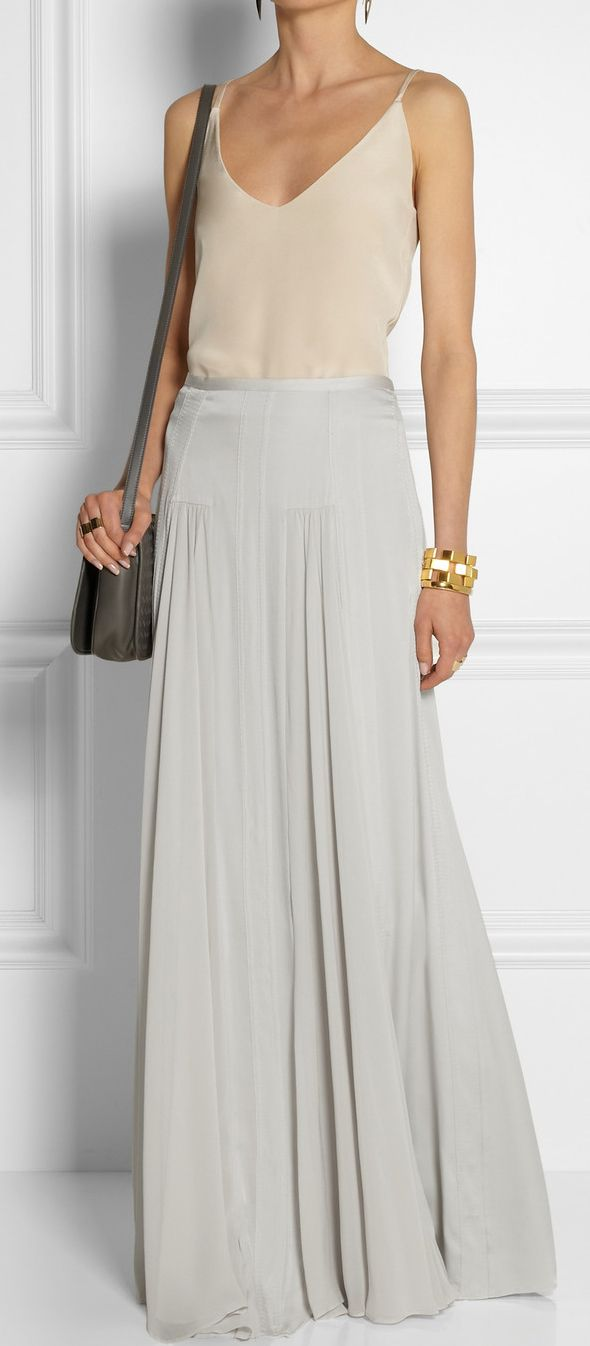 MALENE BIRGER grey maxi skirt. Skirt draping.